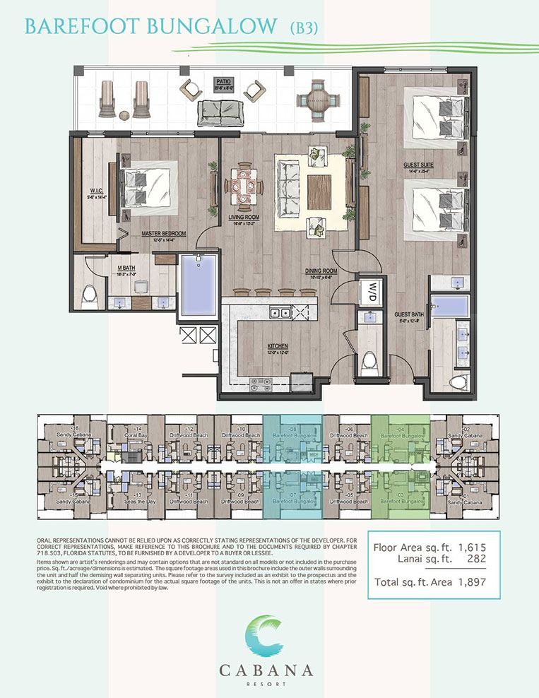 Barefoot Bungalow | CABANA Resort Floorplans in Bonita Springs, Florida
